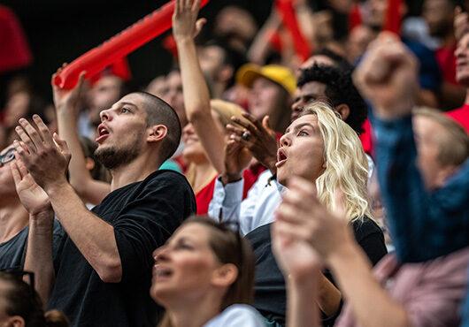 Cheering stadium crowd