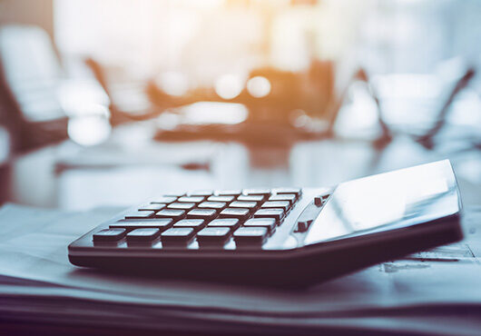 Close up calculator on business working desk
