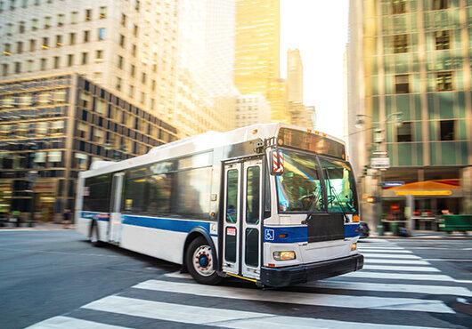 Public transportation bus in New York