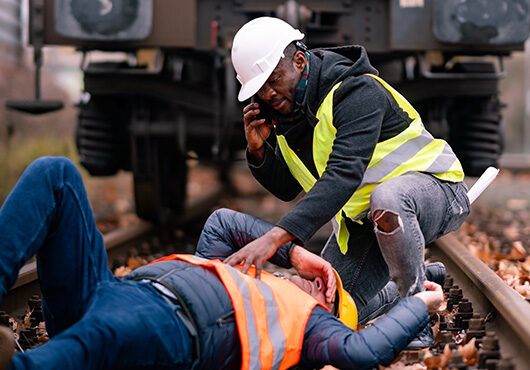 Railroad engineer injured in an accident at work