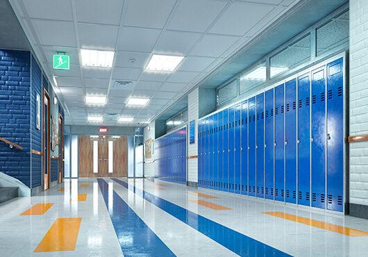 School corridor with lockers